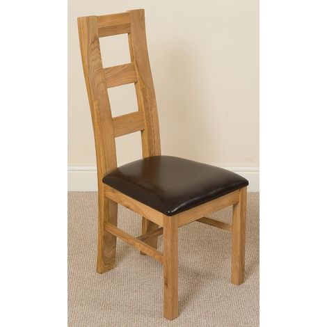 Yale Solid Oak Dining Chair [Light Oak and Brown Leather]