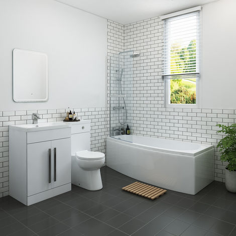 Yang Luxury Bathroom Suite 1695 x 695mm Left Hand Shower Bath with Space Saver Screen & Left Hand Vanity Unit Set with Toilet