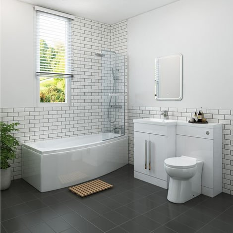 Yang Luxury Bathroom Suite 1695 x 695mm Right Hand Shower Bath with Space Saver Screen & Left Hand Vanity Unit Set with Toilet