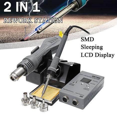 YAOGONG 2 en 1 8878D SMD Rework Soldadura de aire caliente Soldador G * n con herramientas de reparación de estación de boquillas (enchufe de la UE)