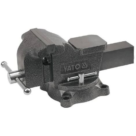 YATO Bench Vice Cast Iron Rotating Base Jaw Clamp Table Tool with Hammertone Finish Heavy-Duty Anvil Replaceable Jaws 150 mm/200 mm