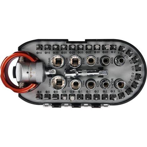 """Yato screwdriver bits & socket set 40pcs, stubby ratchet handle 1/4"""" (YT-27960)"""