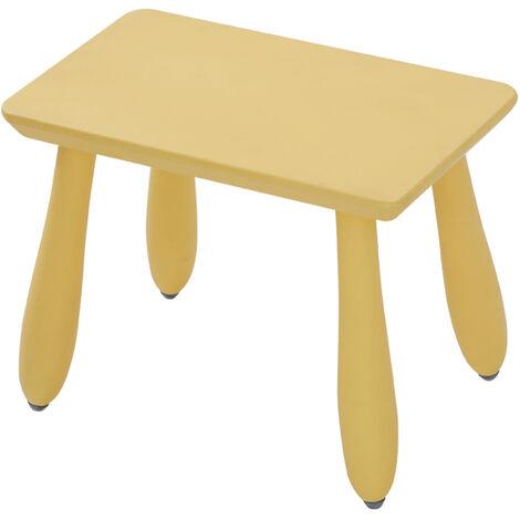 YCH1096-YE Tabouret enfant en bois massif, petit banc enfant, jaune