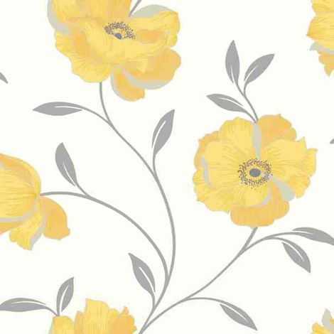 Yellow Floral Wallpaper Flowers White Silver Metallic Shimmer Arthouse Sophia