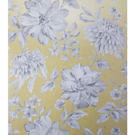 Yellow Floral Wallpaper White Grey Flowers Pearlescent Metallic Crown Lucia