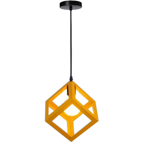 Yellow Modern Suspension Lighting Square Metal Ceiling Lamp Unique Geometric Cube Pendant Light E27 Restaurant Drop light for Loft Cafe Bar