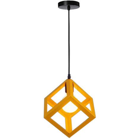 Yellow Modern Suspension Lighting Square Metal Ceiling Lamp Unique Geometric Cube Pendant Light E27 Restaurant Droplight for Loft Cafe Bar