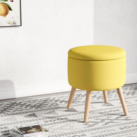 Yellow Storage Footstool Ottoman Linen Fabric Pouffe Chair