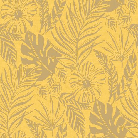 Yellow Tropical Leaves Leaf Wallpaper Metallic Gold Shimmer Floral Flowers Rasch