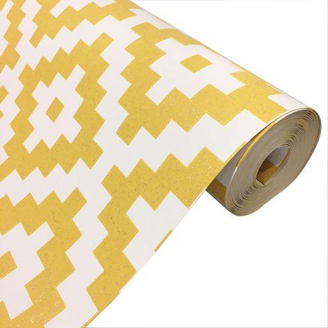 Yellow White 3D Pixel Geometric Glitter Embossed Wallpaper Paste The Wall Vinyl
