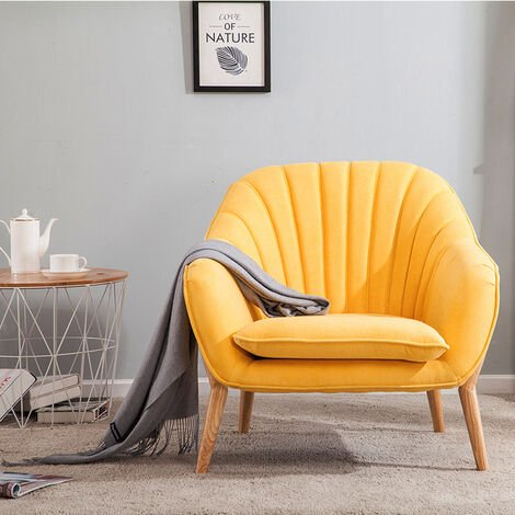 YellowVelvet Scallop Back Armchair Living Room Single Sofa Chair