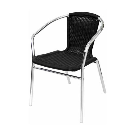 Yoakny 4 Outdoor Garden Aluminium and Black Chairs Stackable