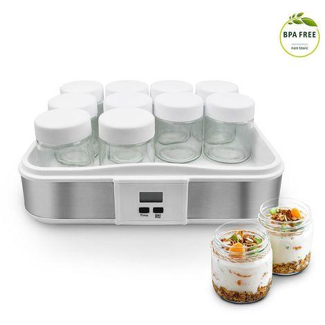 Yogurtera, Maquina para Hacer Yogur Casero, 12 tarros, con el contador de tiempo, 30,6 x 25 x 12,4 cm, Blanco, Capacidad por frasco: 0,21 L