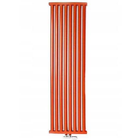 YOKI | Radiateur eau chaude design vertical Acier 100x50cm Puissance 541 W | Radiateur 8 lames chauffage central Entraxe 50mm - Rouge