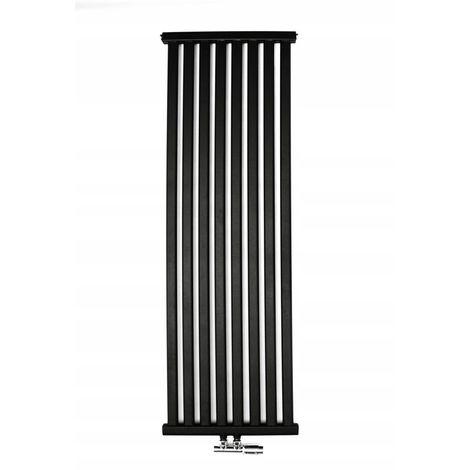 YOKI | Radiateur eau chaude design vertical Acier 120x50cm Puissance 625 W | Radiateur 8 lames chauffage central Entraxe 50mm | Noir - Noir