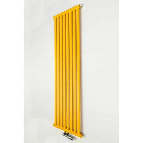YOKI | Radiateur eau chaude design vertical Acier 120x50cm Puissance 625W | Radiateur 8 lames chauffage central Entraxe 50mm | Jaune - Jaune