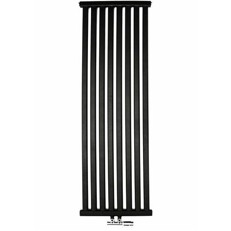 YOKI | Radiateur eau chaude design vertical Acier 150x50 cm Puissance 741W | Radiateur 8 lames chauffage central Entraxe 50mm | Noir - Noir