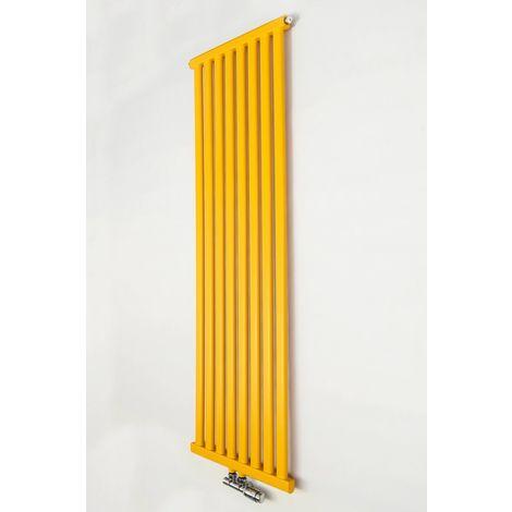 YOKI | Radiateur eau chaude design vertical Acier 150x50cm Puissance 741W | Radiateur 8 lames chauffage central Entraxe 50mm - Jaune