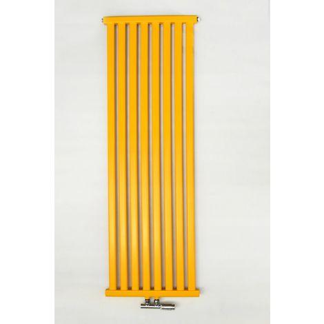 YOKI | Radiateur eau chaude design vertical Acier 180x50 cm Puissance 880 W | Radiateur 8 lames chauffage central Entraxe 50mm - Jaune