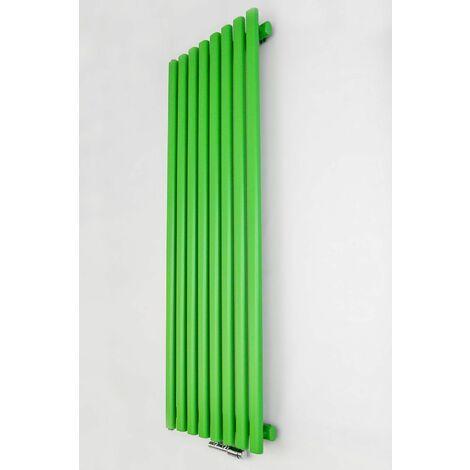 YOKI | Radiateur eau chaude design vertical an acier 120x50 cm Puissance 625 W | Radiateur décoratif 8 lames chauffage central | Vert - Vert