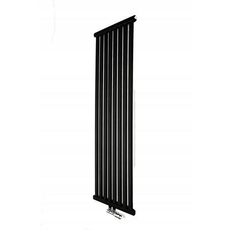 YOKI | Radiateur eau chaude design vertical en Acier 100x50cm Puissance 541 W | Radiateur 8 lames chauffage central Entraxe 50mm | Noir - Noir
