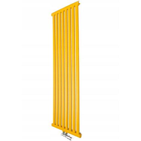 YOKI | Radiateur eau chaude design vertical en Acier 100x50cm Puissance 541W | Radiateur 8 lames chauffage central Entraxe 50mm | Jaune - Jaune