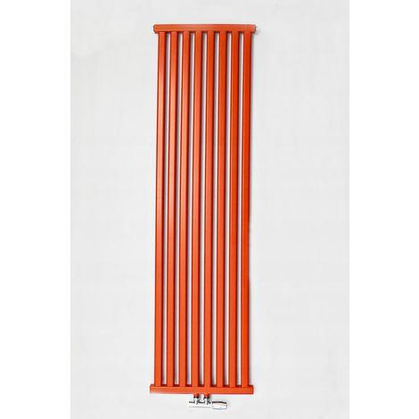 YOKI | Radiateur eau chaude design vertical en acier 120x50cm Puissance 625 W | Radiateur 8 lames chauffage central Entraxe 50mm - Rouge
