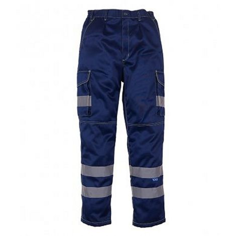 Yoko Mens Hi-Vis Cargo Trousers With Knee Pad Pockets
