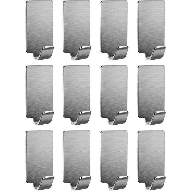 YOLETO Self Adhesive Stainless Steel Hook 12 Pieces, for Bedroom Bed, Door Hook, Hat, House, Waterproof Hook Bathroom Towel Mural