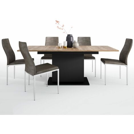 Yolo Dining set package Yolo Extending Dining Table + 4 Lillie High Back Chair Dark Brown. Brown Wood