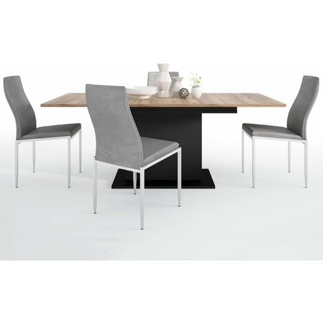 Yolo Dining set package Yolo Extending Dining Table + 4 Lillie High Back Chair Grey.