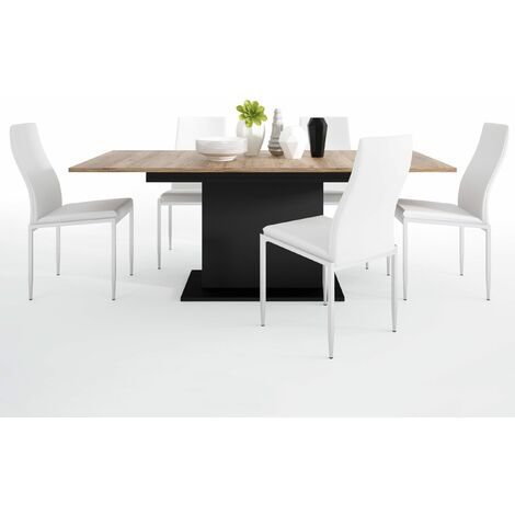 Yolo Dining set package Yolo Extending Dining Table + 4 Lillie High Back Chair White. Brown Wood