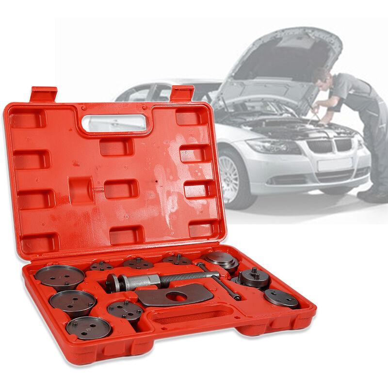 YONGQING®32.5*25*7cm Coffret Set repousse piston d étrier de frein Kit d outils 13 pièces Rouge - Rouge-Argent