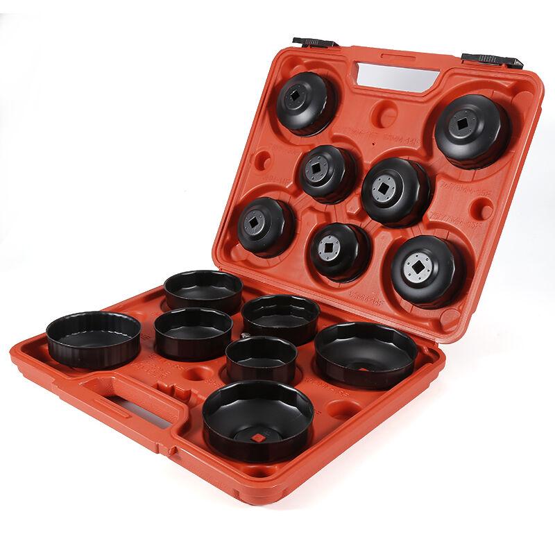YONGQING®Kit Coiffes filtre à huile 14 pcs Clés de filtre à huile Adaptateur dans Clé filtre à huile outil bouchon Set Adapter - Noir-rouge