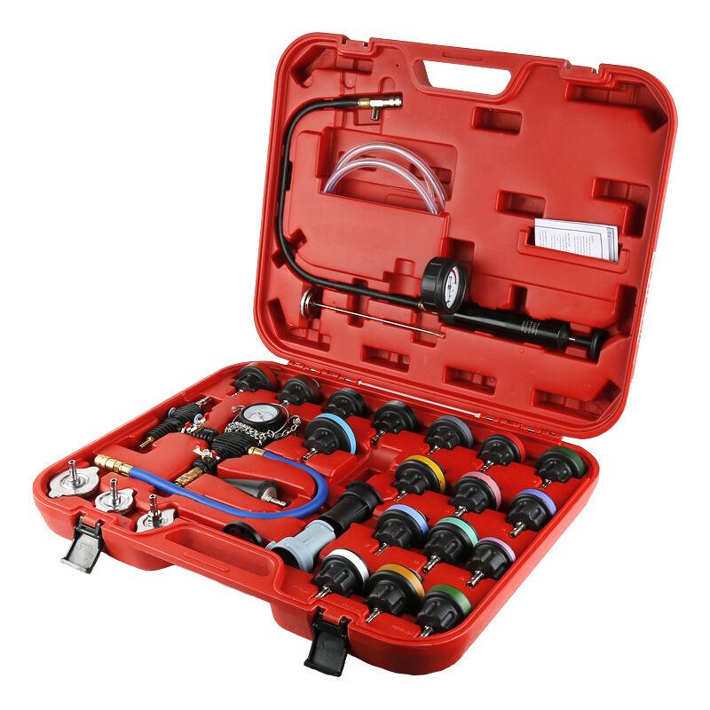 ®pression de radiateur avec outil de purge et recharge 27 pièces Système de Testeur liquide de refroidissement Pompe - Rouge - Yongqing