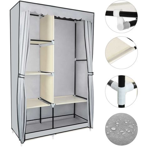YOOKEA Fabric wardrobe with clothes rail and zipper 170 x 105 x 45 cm Washable folding wardrobe in Oxford fabric with compartments and side pocket, gray