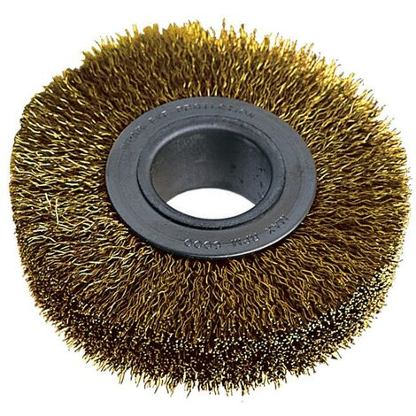 York Industrial Rotary Wire Brushes - Crimped - Brass Coated 30SWG - 150 x 21 x