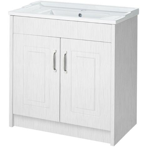 York Porcelain White 800mm 2 Door Cabinet & Basin - 1 Tap Hole