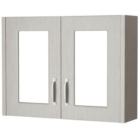 York Stone Grey Wood 800mm Mirror Cabinet