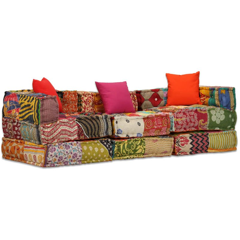 YOUTHUP 3-Sitzer Modulares Schlafsofa Stoff Patchwork