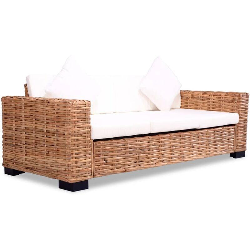 YOUTHUP 3-Sitzer-Sofa Natürliches Rattan