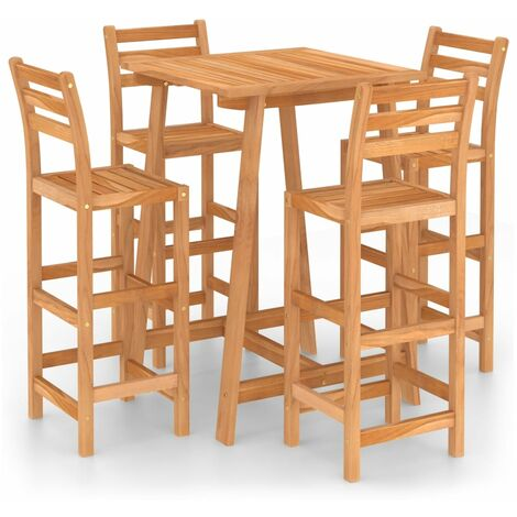 YOUTHUP 5 Piece Outdoor Bar Set Solid Acacia Wood