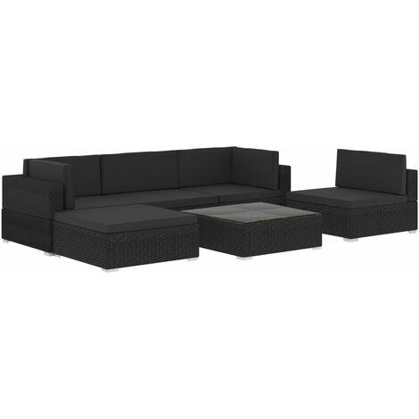 YOUTHUP 6-tlg. Garten-Lounge-Set mit Auflagen Poly Rattan Schwarz - 47258-DE
