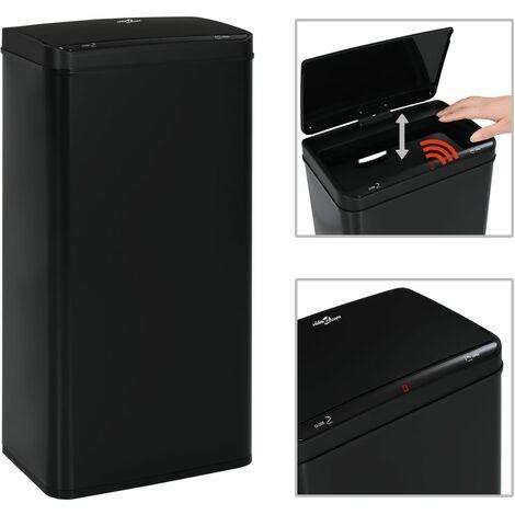 YOUTHUP Automatischer Sensor-Mülleimer Schwarz Stahl 80 L