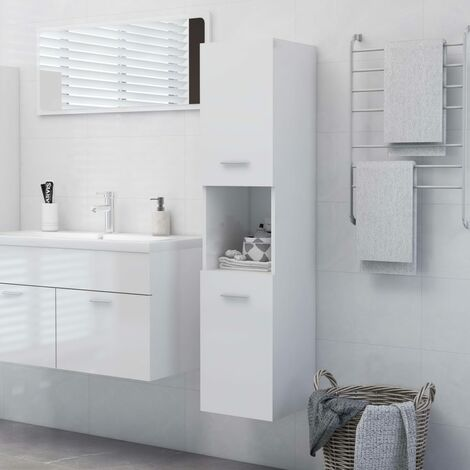 YOUTHUP Bathroom Cabinet High Gloss White 30x30x130 cm Chipboard