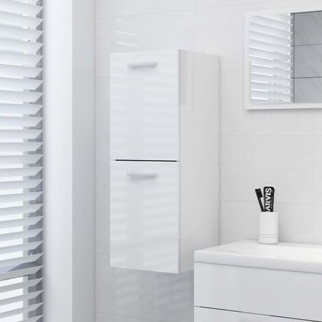 YOUTHUP Bathroom Cabinet High Gloss White 30x30x80 cm Chipboard