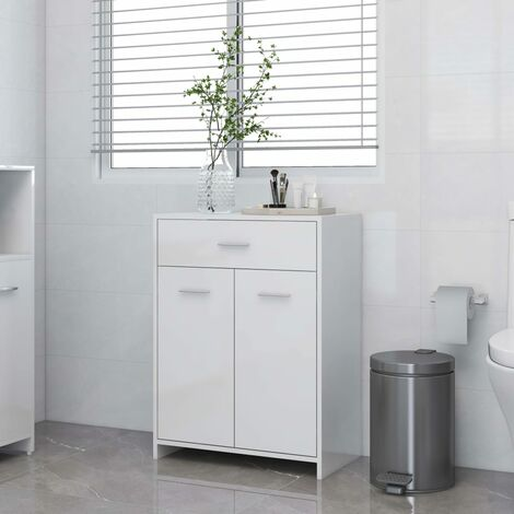 YOUTHUP Bathroom Cabinet High Gloss White 60x33x80 cm Chipboard