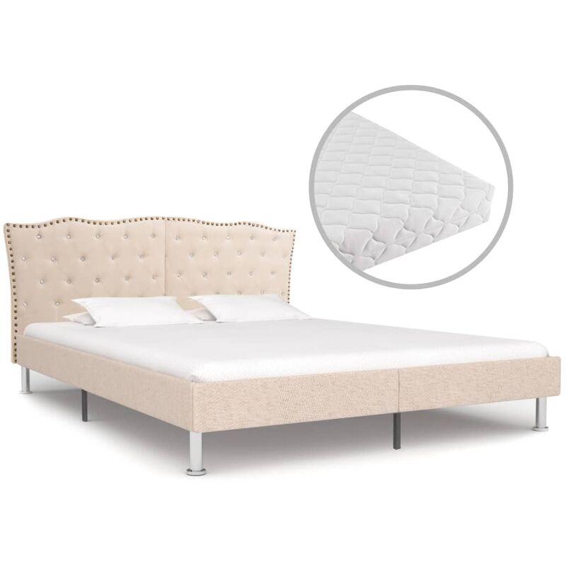 Bett mit Matratze Beige Stoff 160 x 200 cm - Youthup
