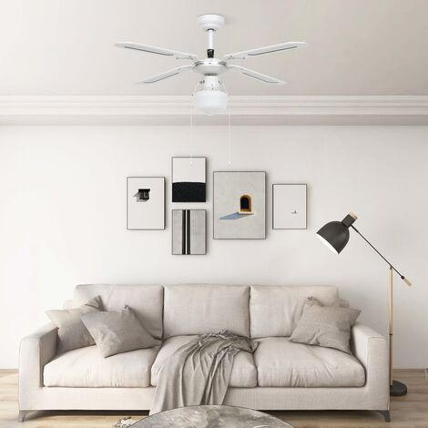 YOUTHUP Ceiling Fan with Light 106 cm White