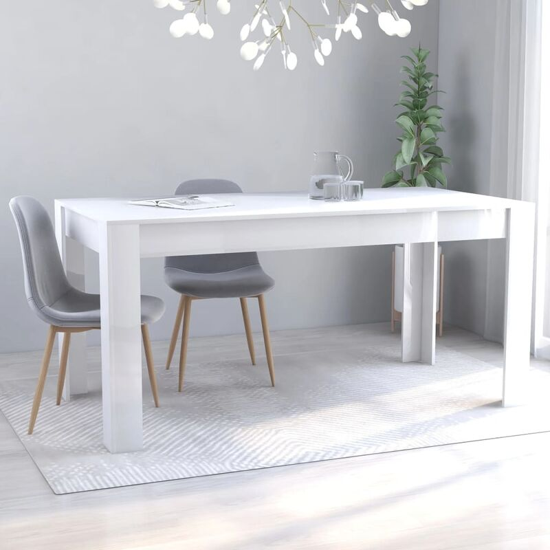 Esstisch Hochglanz-Weiß 160x80x76 cm Spanplatte - Youthup